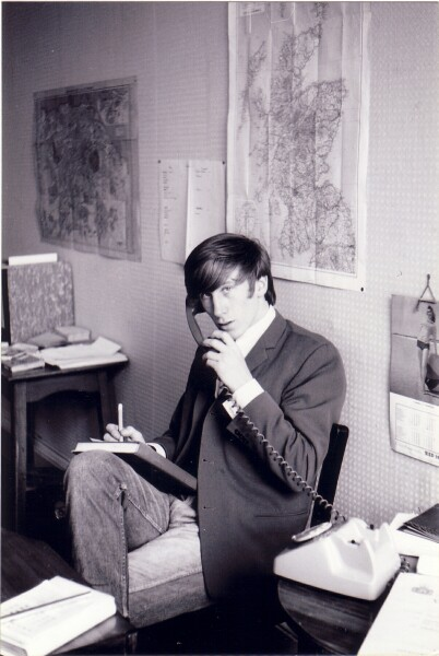 Young Man On The Phone In Office At Lauriston Place c.1965