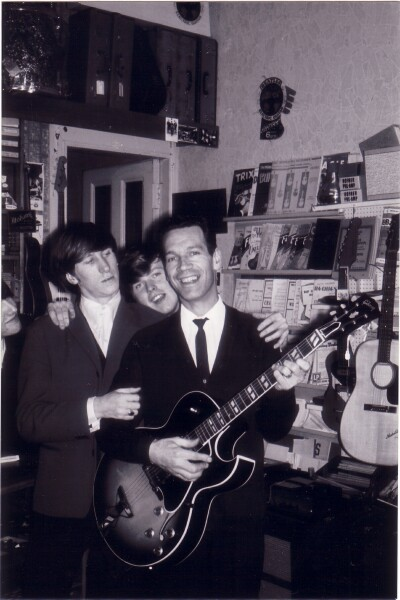 Members Of 'The Embers' In Pete Seaton's Music Shop On Hope Park Terrace c.1965