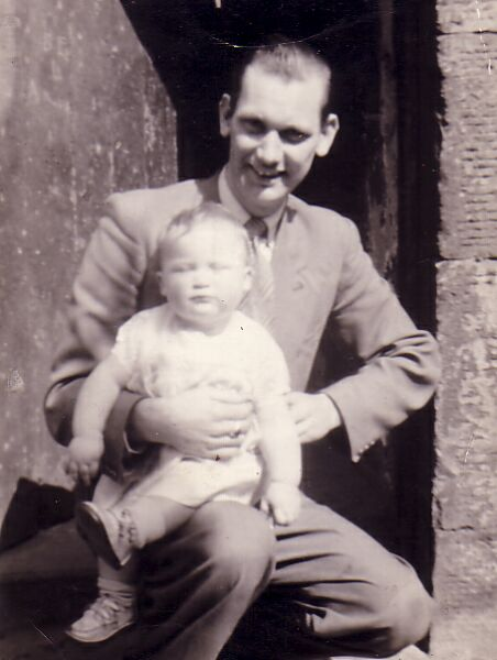 Uncle And Nephew Crouching In Doorway At Lochend 1950s