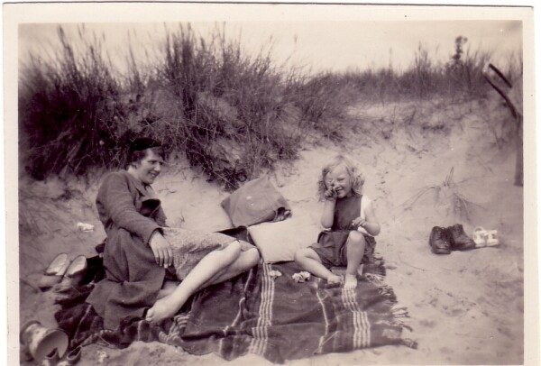 Mother With Daughter At The Sands At Carnoustie 1934