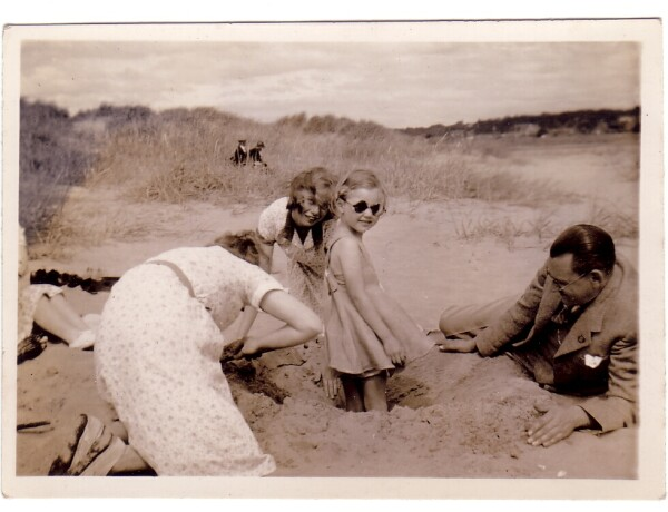 Family Playing On The Sands At Carnoustie 1934