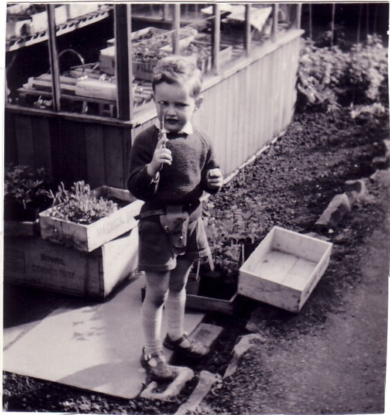 Boy Playing With His Toy Gun In Back Garden At Blackhall 1961