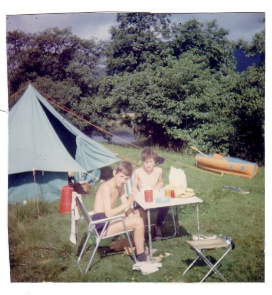 Two Boys Picnicking By Their Tent 1967