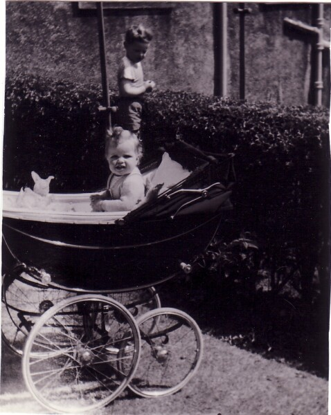Baby Girl In Pram In Back Garden At Queen's Crescent, Blackhall c.1961