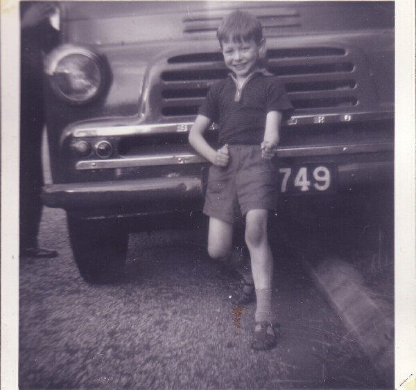 Young Boy Posing In Front Of Bedford Van 1965
