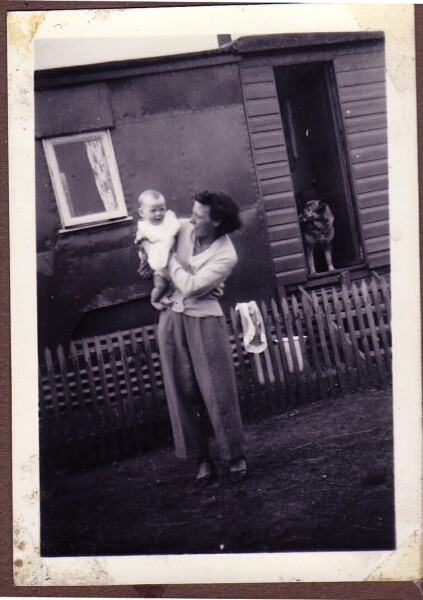 Woman With Baby Outside Caravan 1956