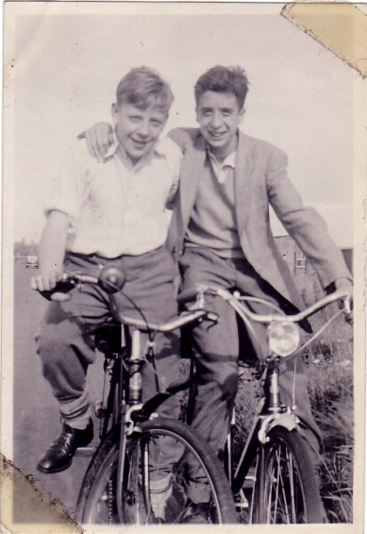 Two Young Men On Bicycles, late 1940s