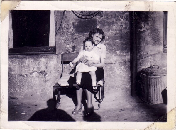 Mother With Daughter Sitting Outside On Tennant Street 1956