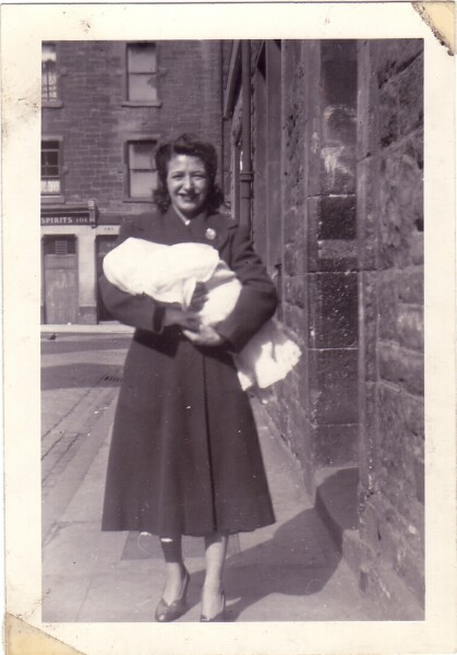 Mother In Street With Baby Son 1957
