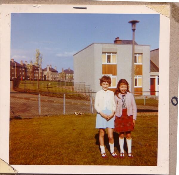 Two Girls Standing In Garden At Granton Crescent 1970