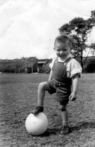 Young Boy Playing Football In Pilrig Park 1963