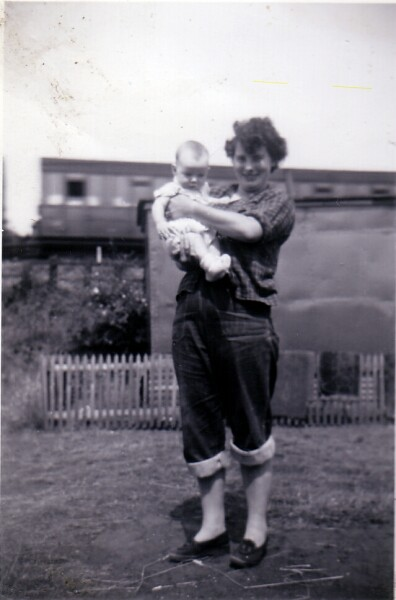Woman With Baby At Caravan Site 1953