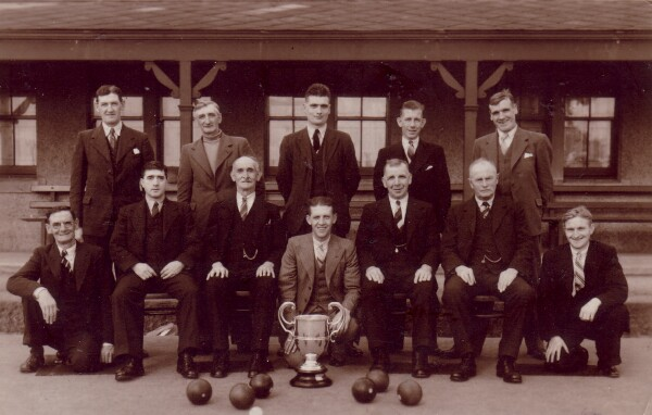 Bowling Club Members With Trophy c.1936