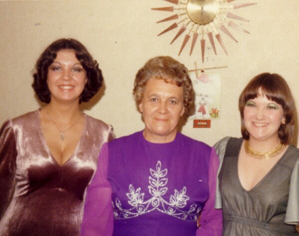 Three Women In Evening Dress At Home In Niddrie Mill Drive c.1976
