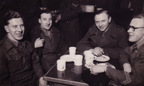 Soldiers Sitting Round Table Drinking Tea 1943