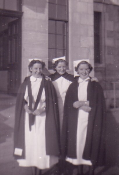 Trio Of Nurses Outside Nurses' Home At Aberdeen Royal Infirmary, August 1951