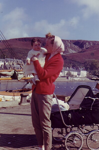 Mother With Baby Daughter In Ullapool While On Holiday 1960
