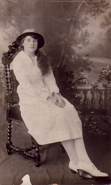 Studio Portrait Young Woman Wearing Confirmation Dress 1919