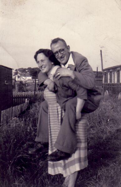 Woman Giving Husband A Piggyback At Port Seton Caravan Park 1940s