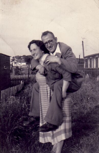 Woman Giving Husband A Piggyback At Port Seton Caravan Park 1940s