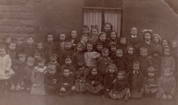 Large Group Of Children In Front Of Window c.1918