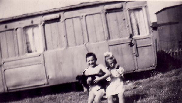 Two Young Cousins With Dog At Caravan Park 1950s