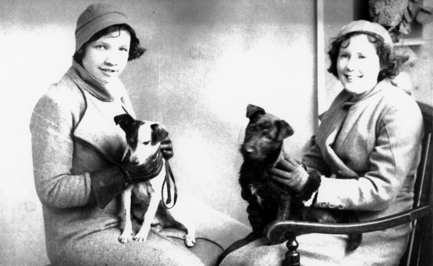 Studio Portrait Two Sisters With Pet Dogs 1934