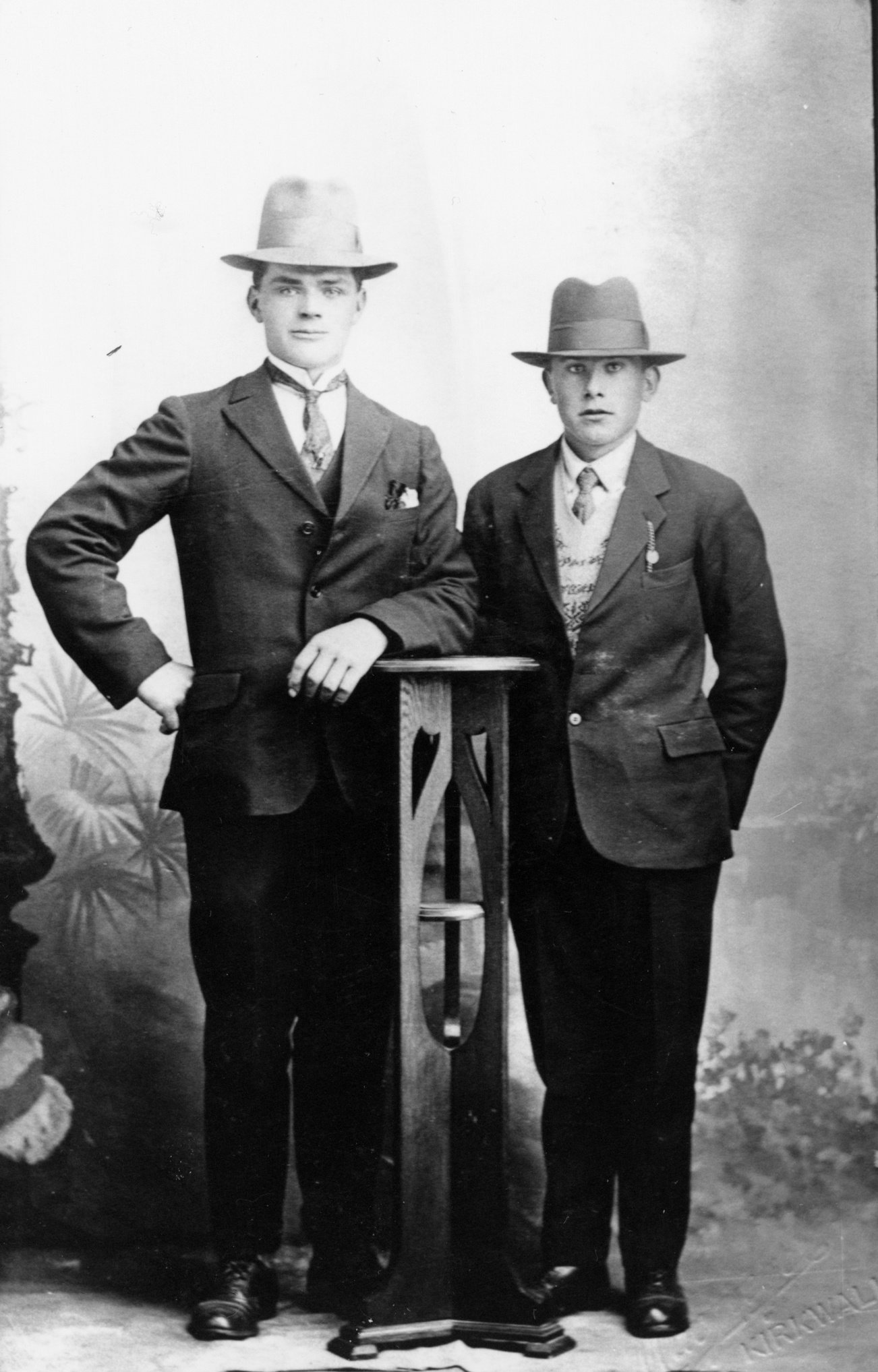 Studio Portrait Two Young Men 1920s