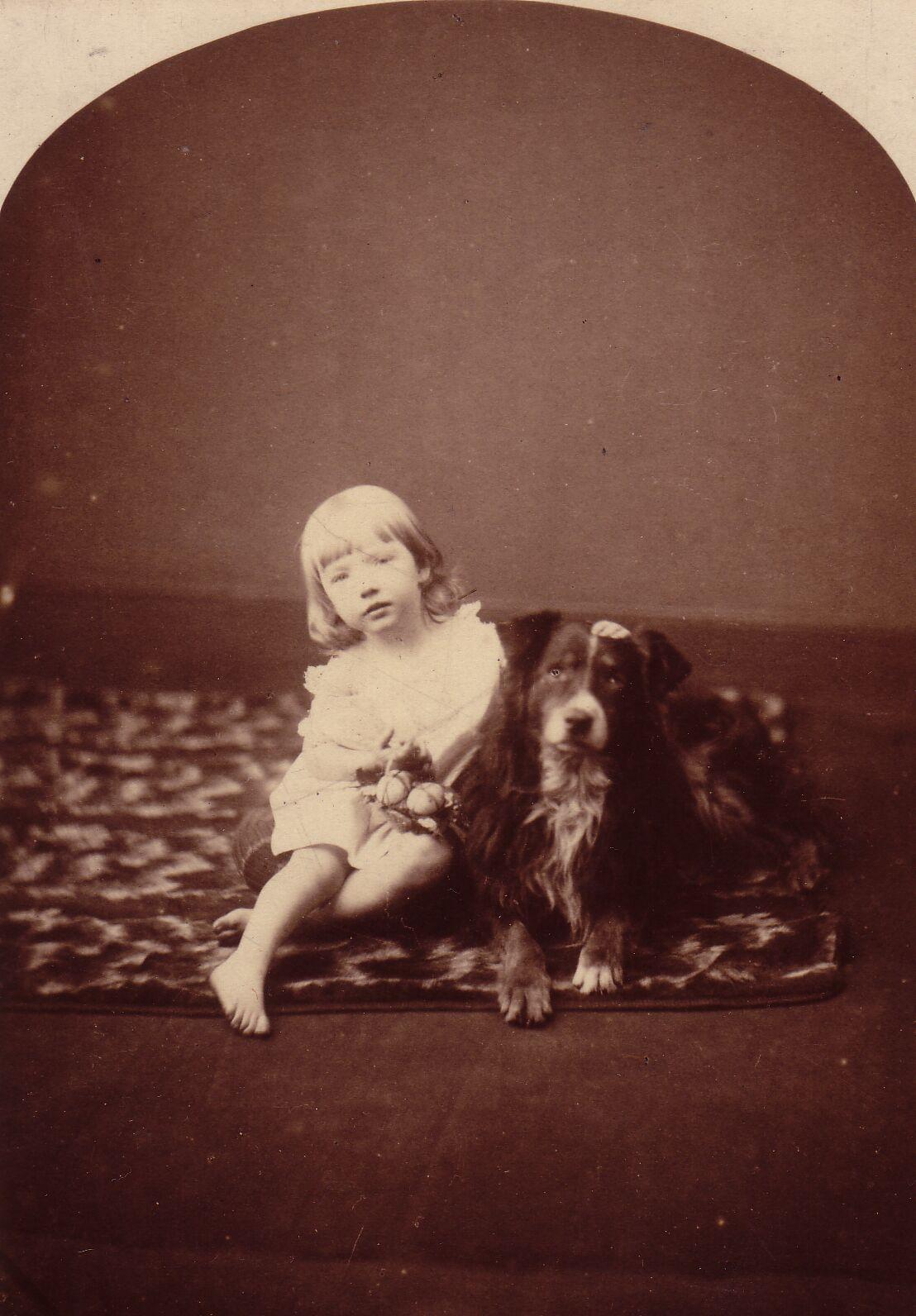 Studio Portrait Young Girl With Dog c.1886