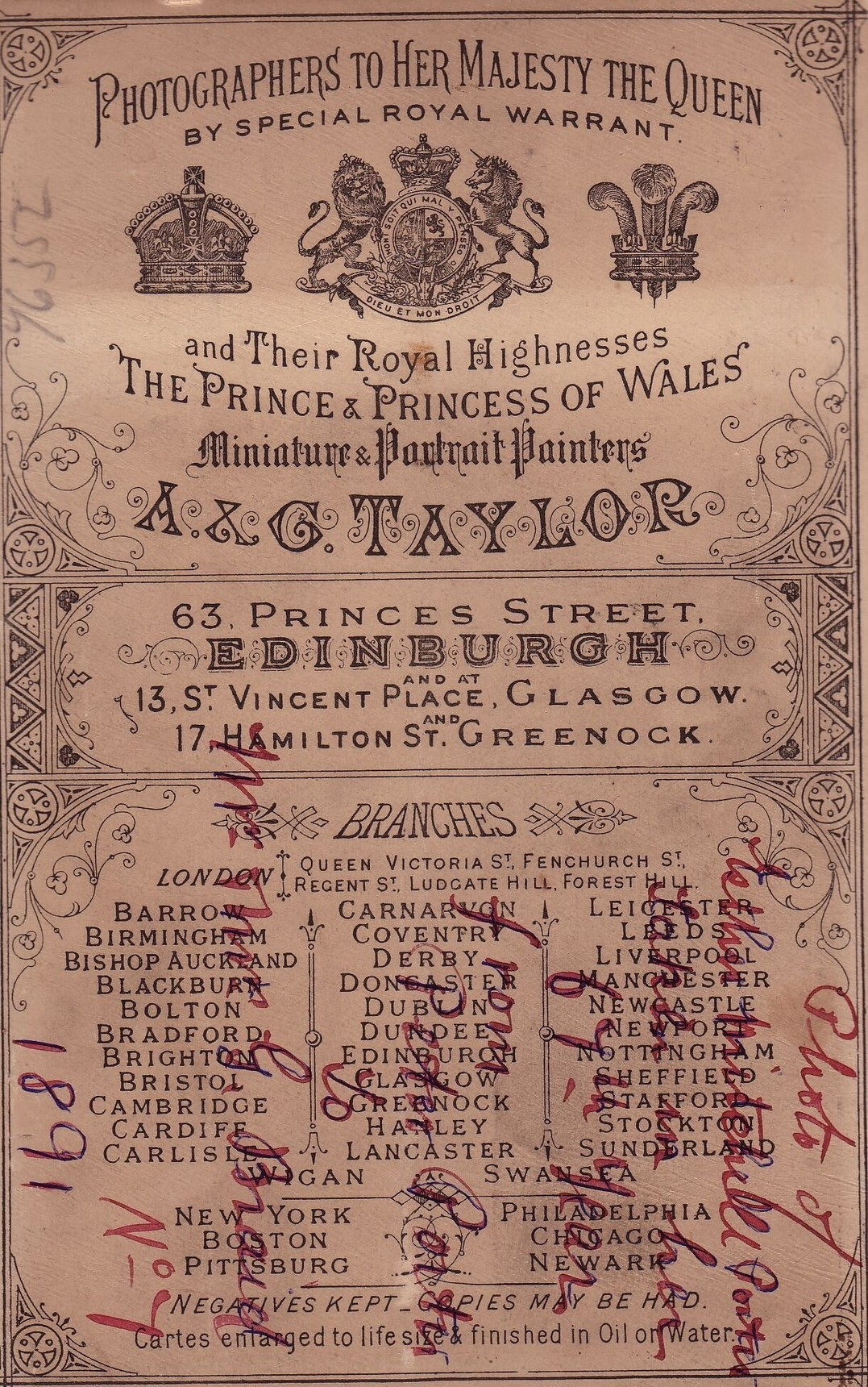 Detail From Reverse Of A&G Taylor Cabinet Card 1891