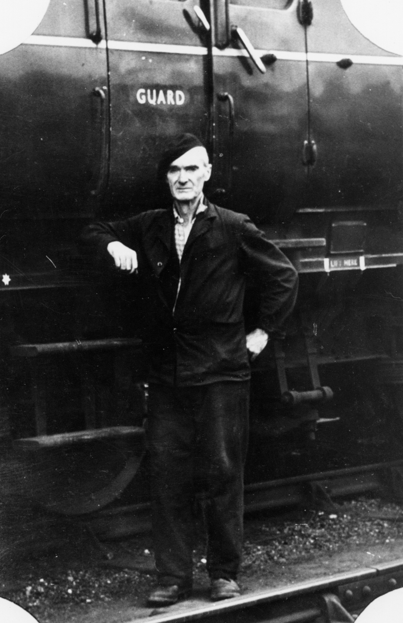 Stoker Standing By Carriage At St Margaret's Railway Works, late 1940s