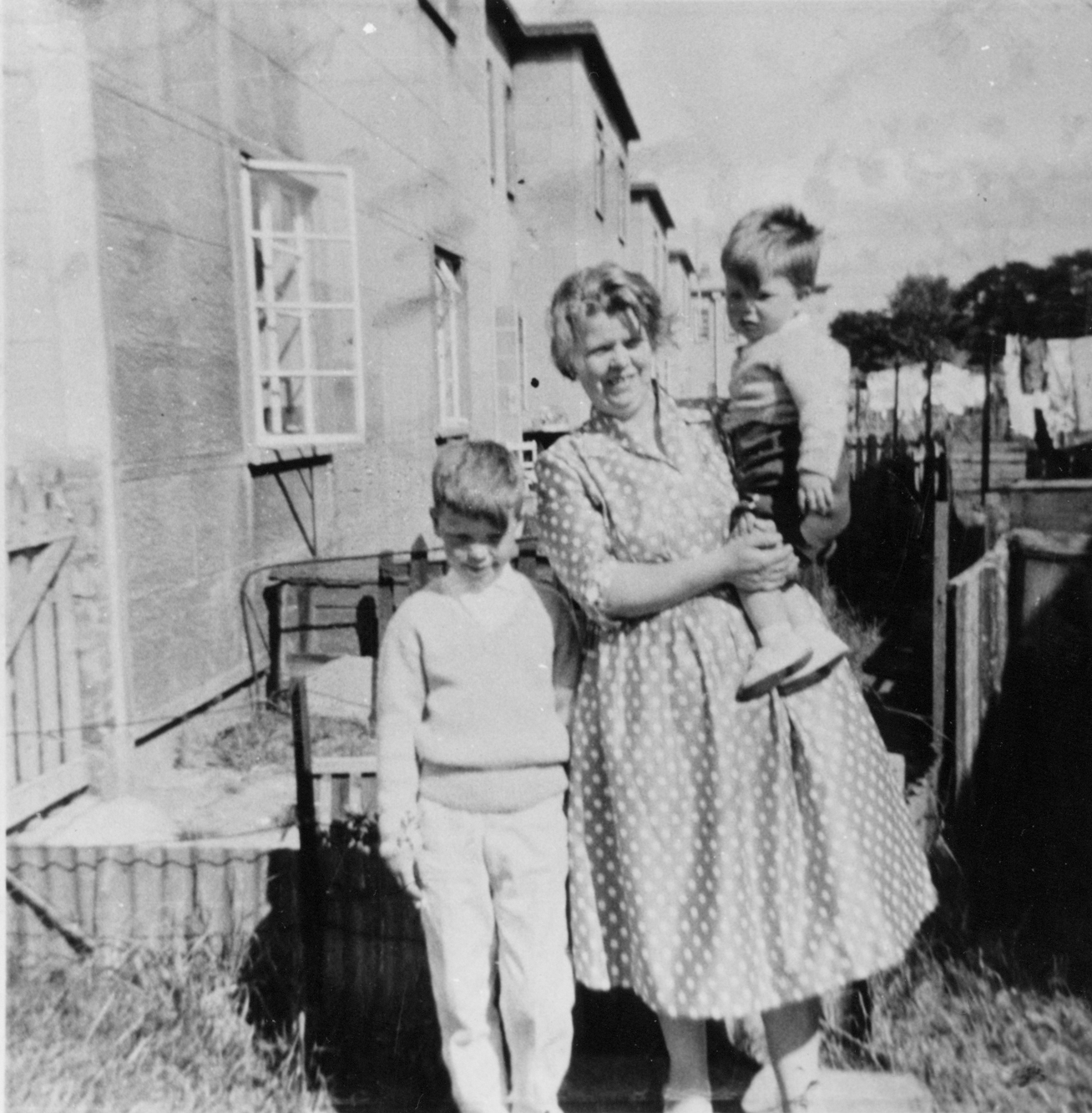 Mother With Her Sons In Back Green At Bingham Drive c.1962