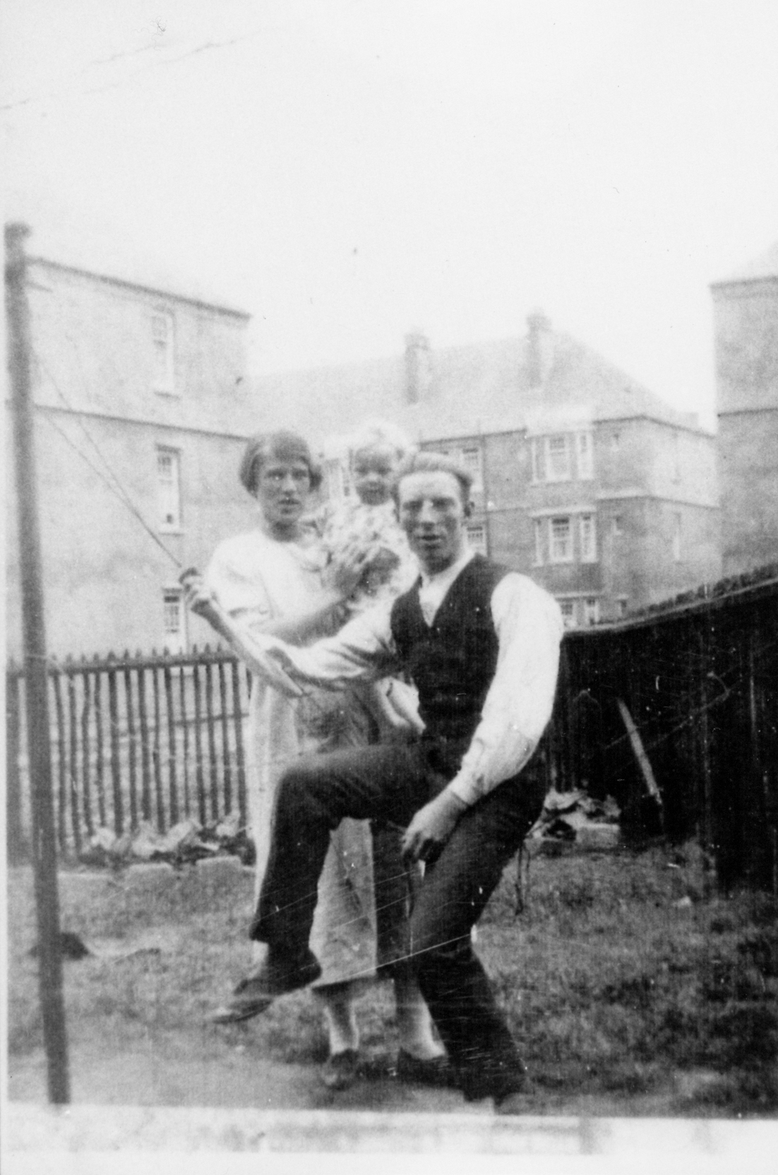 Young Family In Back Green At Lochend c.1924