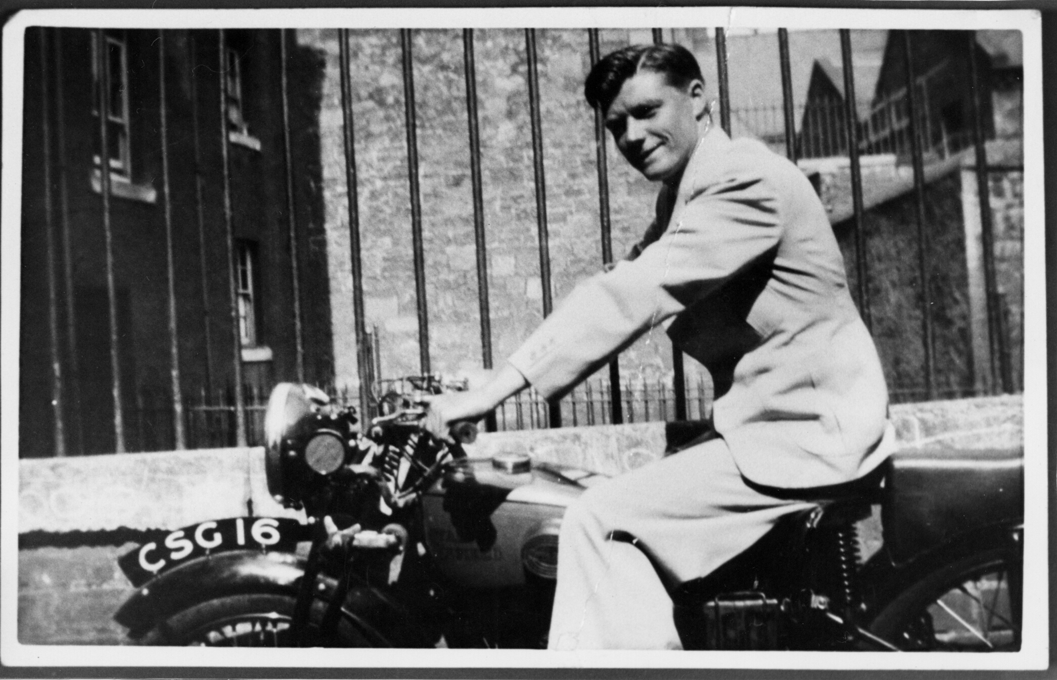 Motorcyclist With His Royal Enfield Motorbike 1938