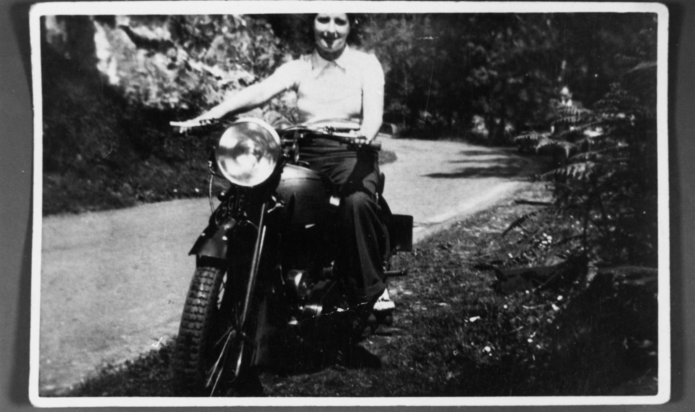 Woman On Royal Enfield Motorbike 1938
