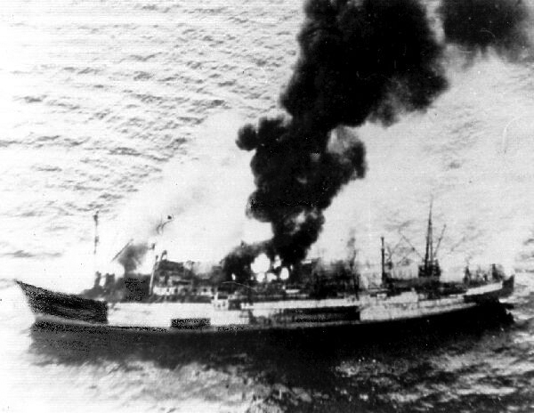 Merchant Ship On Fire c.1942
