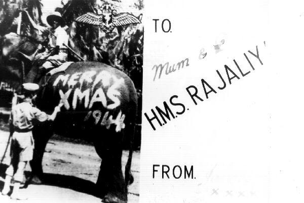 Forces Christmas Card From HMS Rajaliya 1944