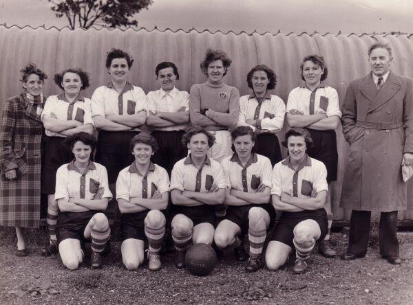 Edinburgh Dynamos Ladies Football Club Team In Away Strip, mid -1950s