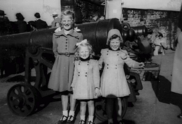 Three Sisters On Visit To Edinburgh Castle 1951