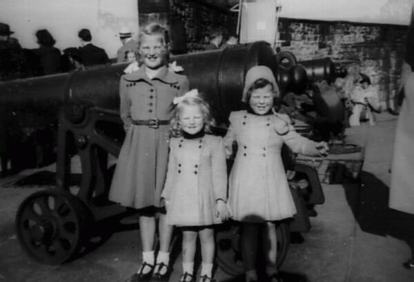 Three Sisters On Visit To Edinburgh Castle 1951