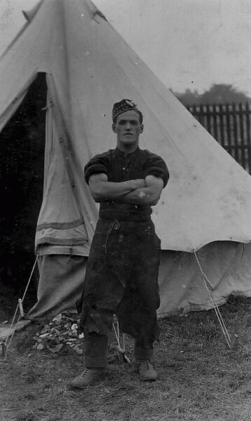 Soldier Of The Royal Scots Standing Outside Tent c.1915