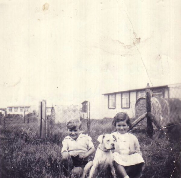 Two Children In Back Green By Prefabs 1956