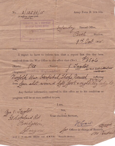 Official Notification Of Wounded Soldier, October 1915