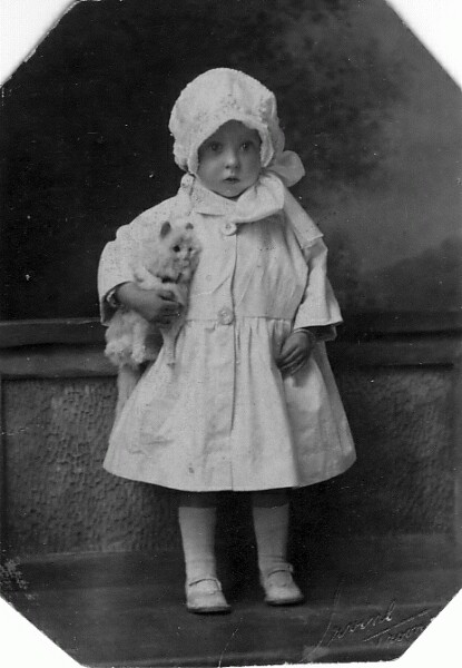 Studio Portrait Young Girl With Stuffed Toy Cat 1922