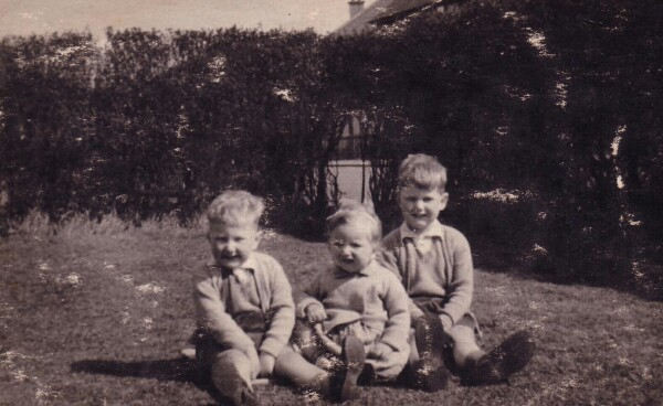 Brothers And Sister Sitting In Garden At Carrick Knowe c.1950