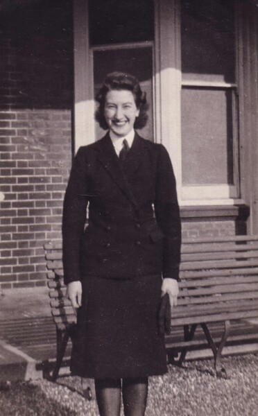 Wren New Recruit Standing Outside Arundel WRNS Hostel In Brighton 1940