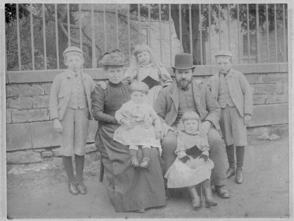 Miller And His Family Outside Bell's Mill House At Belford Bridge c.1890