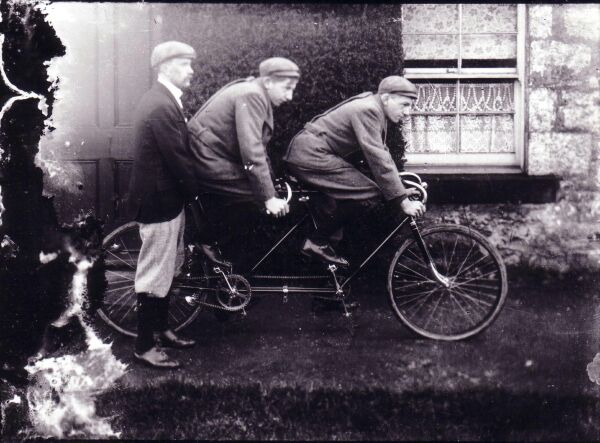 Two Young Men On Tandem Bike At South Queensferry c.1905