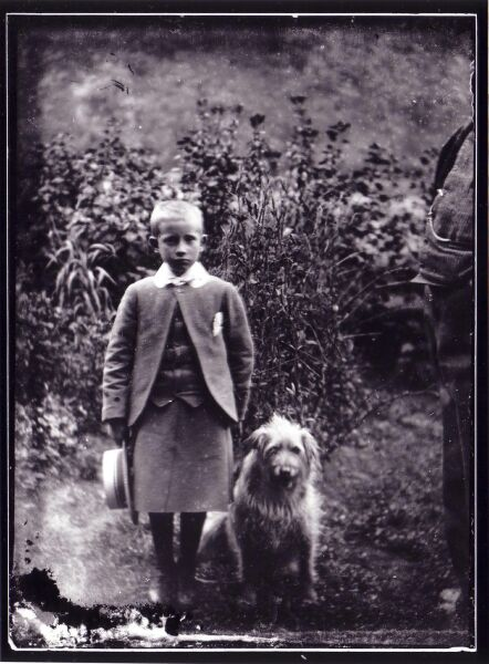 Boy Standing In Kilt And Boater With Pet Dog c.1900