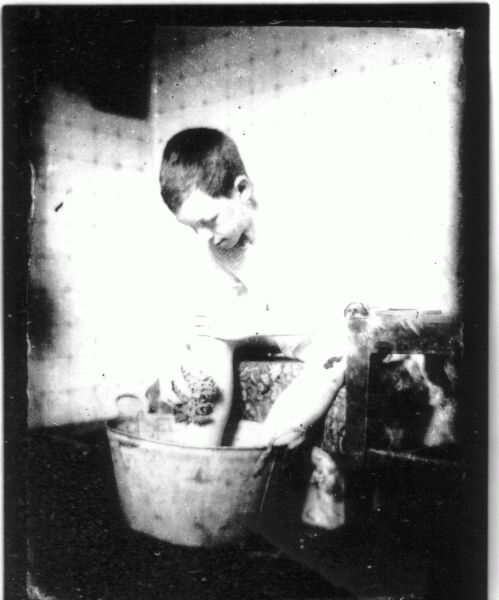 Boy Washing Feet In Galvanised Tub c.1900